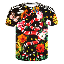 summer 2019 New Flower snake 3D printed T shirt men  Funny creative of new Short sleeve tee t Male female clothes 4XL