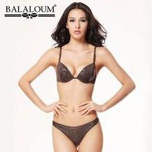 Balaloum ผู้หญิงเซ็กซี่ 3/4 ถ้วย Push Up Bra และ Panty ชุดเลื่อมหญิงชุดชั้นใน T กลับ Thongs G String ผู้หญิงไม่มีรอยต่อชุดชั้นใน