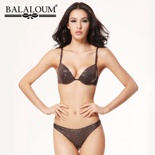 Balaloum Women Sexy 3/4 Cup Push Up Bra and Panty Sets Sequin Female Lingerie T Back Thongs G String Seamless Ladies Underwear