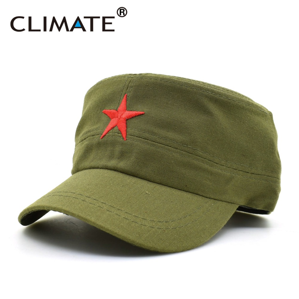 CLIMATE 2017 Men Solid Red Star Army Cool Flat Top Caps China Communist Party Men International Brigades Army Flat Top Hat Caps red star pattern flat top cotton fabric cap hat black