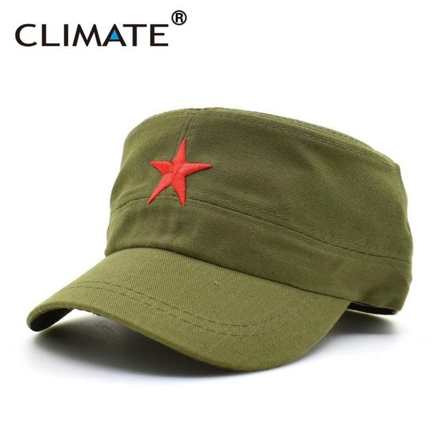 CLIMATE 2018 Communist Caps Hats Cap Men Red Star Army Cool Cap Party Men  International Brigades Flat Top Army Military Hat Caps 00ac6bb9c43