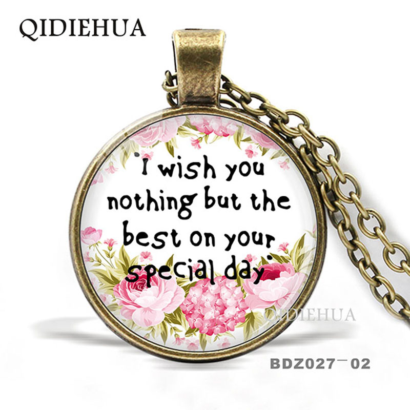 QIDIEHUA I wish you nothing but the best on your special day Necklace Bible Verse Christian Quote Necklace Faith Gifts Jewelry image
