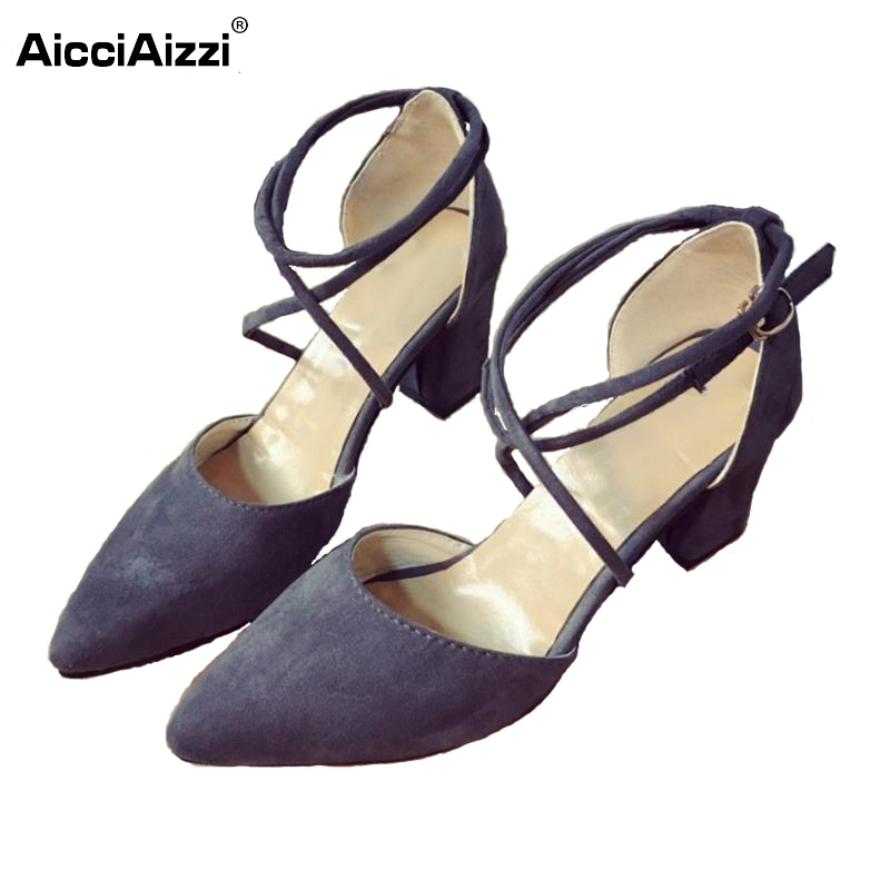 Sexy Lady High Heel Sandals Women Pointed Toe Ankle Strap Thick Heels Sandal Party Wedding Shoes Soft Female Footwear Size 36-40