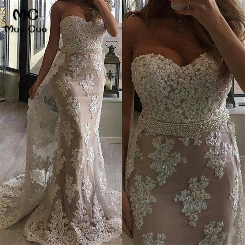 2019 Vintage Mermaid Wedding Dress with Train vestidos de novia Sweep Train Beaded Sashes Wedding Dresses