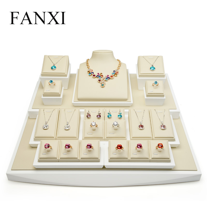 FANXI PU Leather Full Set Display Stand with Solid wood for Counter Showcase Ring Earrings Necklace Holder Display Prpos