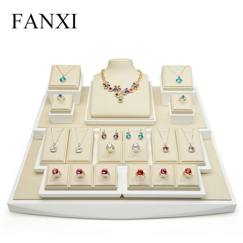 FANXI PU cuir complet présentoir avec bois massif pour comptoir vitrine anneau boucles d'oreilles porte-collier affichage Prpos