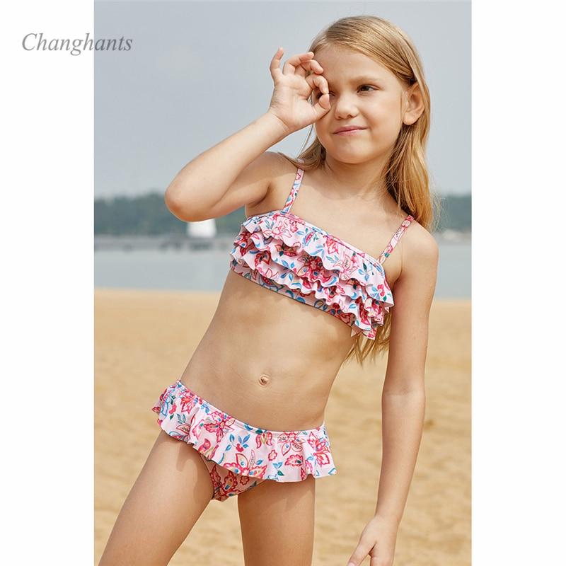 2019 New Model Girls Bikini Set two piece Swimwear Cake layer Flower Kids Children Swimming wear swim Suit Swimsuit bathing