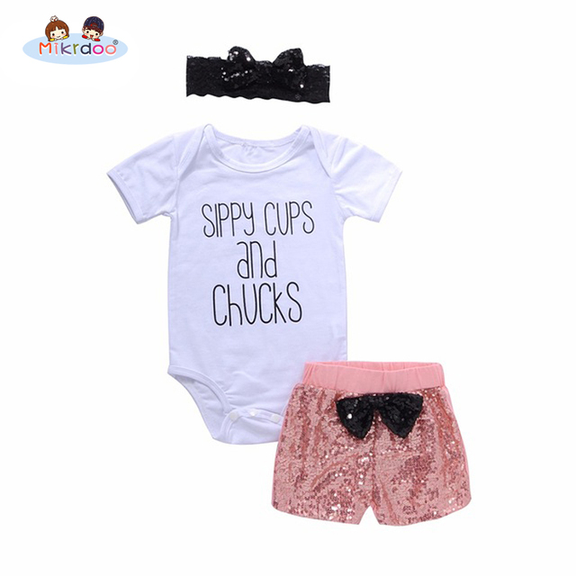 75da5b82c224 Mikrdoo Summer girl set Newborn Baby sippy cups and Chucks print Romper +  Sequin Shorts 3PCS Outfits Toddler Kids clothes 0-24M