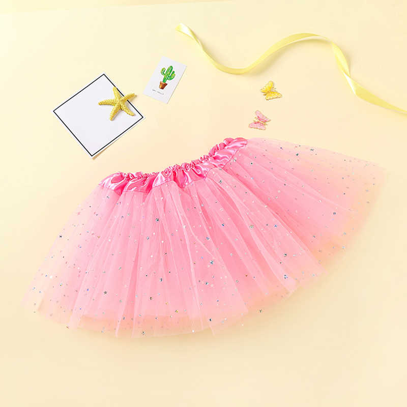 0-8Y תינוקת ילדים 3 שכבות Sparkle Mesh טוטו חצאית בנות חצאיות בלט ריקוד תחתוניות spodnica ילדי רוק faldas