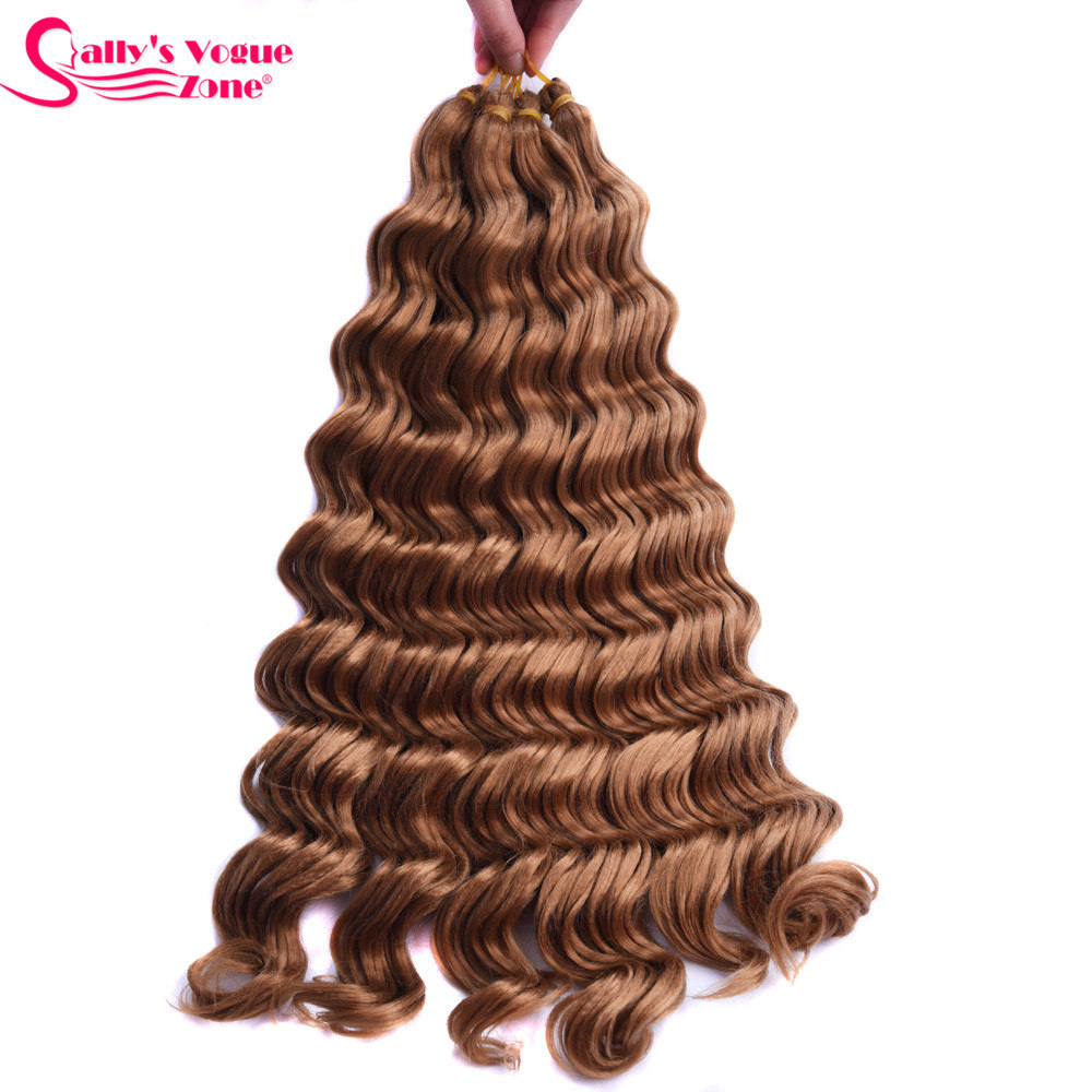Sallyhair High Temperature Synthetic Deep Wave Twist Crochet Braids Black Color Bulk Hair Extension  (37)