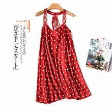Daeyard Luxury Silk Nightgown For Women Sexy Spaghetti Straps Shirt Summer Backless Nightdress Polka Dot Mini Dress Sleepwear