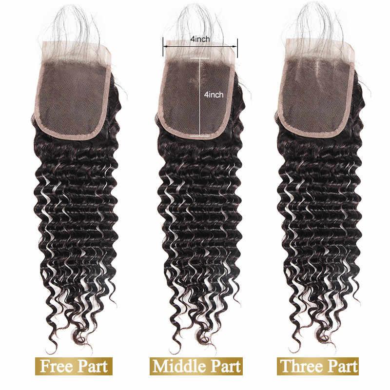 Перуанские Виргинские пучки волос с закрытием 4 шт много глубокая волна пучки с закрытием необработанные перуанские глубокие вьющиеся волосы Funmi