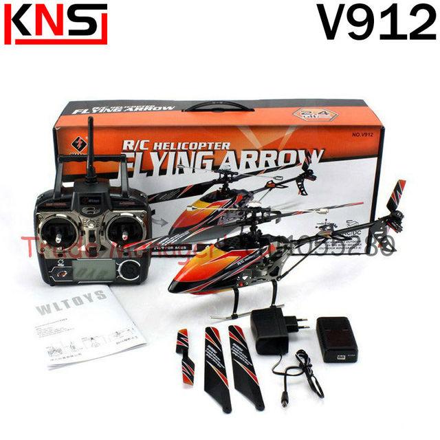Envío gratis WLV912 gran escala exterior rc helicóptero 2.4 G solo remo 4ch rc juguetes de control remoto helicóptero aeroespacial