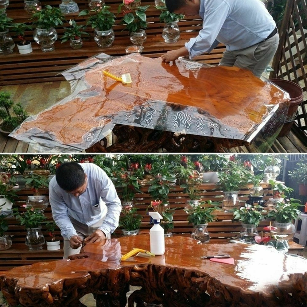4Mil High Glossy Clear Fumiture Film Oilproof Self-adhesive table cloth Stickers Protective Film Wrap Furniture vinyl