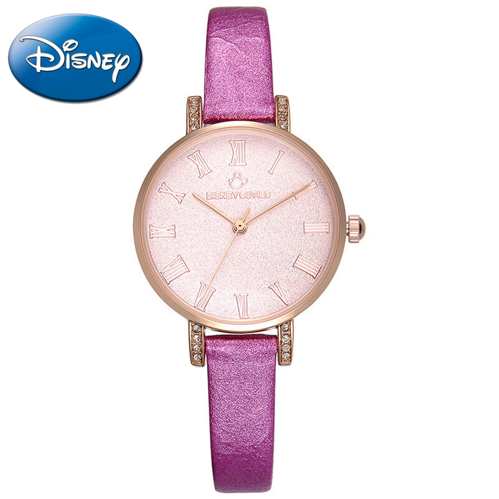 Authentic Disney beautiful women's bling rhinestone elegant lady watch Girl cute romantic rose red wristwatch Minnie mouse 51204