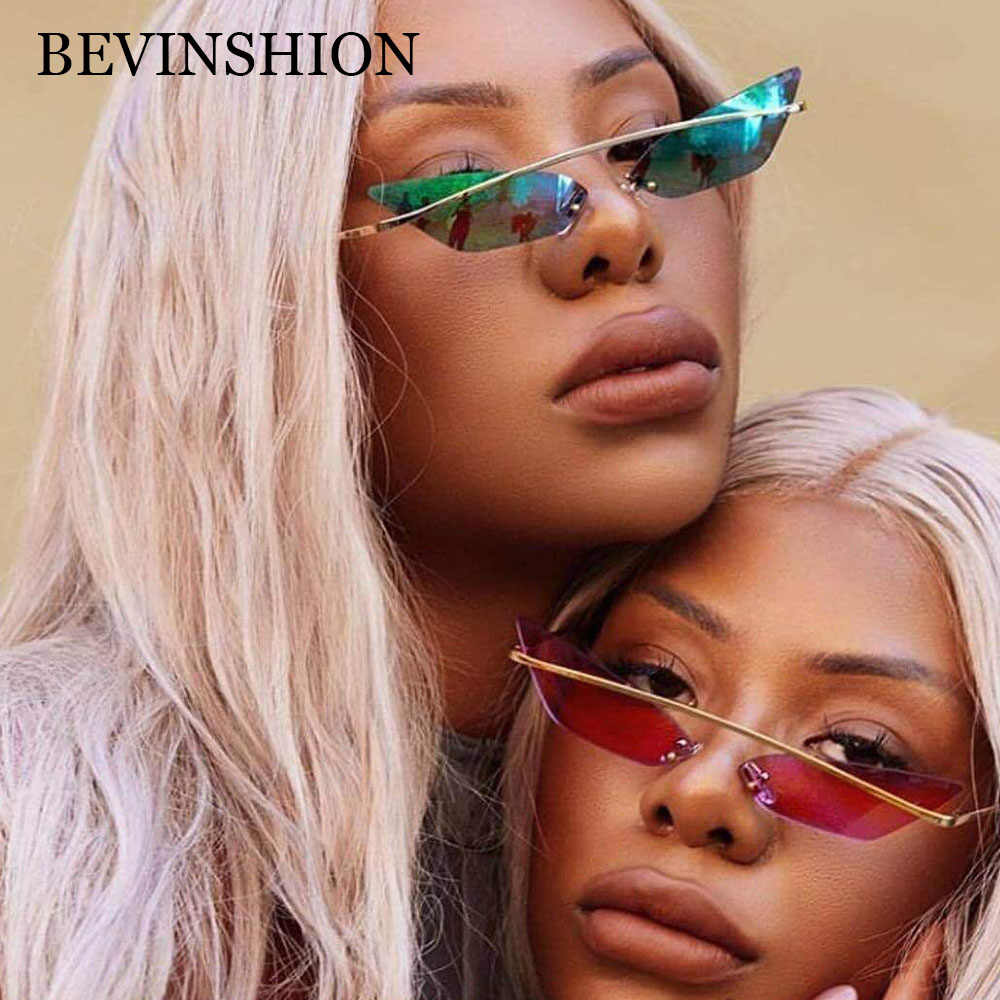 f2ca3aad50 Cool Brand Designer Rimless Cateye Sunglasses Women Metal Mirror Vintage  Ocean Color Lens Red Purple Goggles