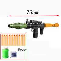 Rocket Guns Toy, Rocket Launcher Impact Gun ,Nerf 7.2cm Bullets Soft Hollow Hole Head,Children Kids Outdoor Game Gift