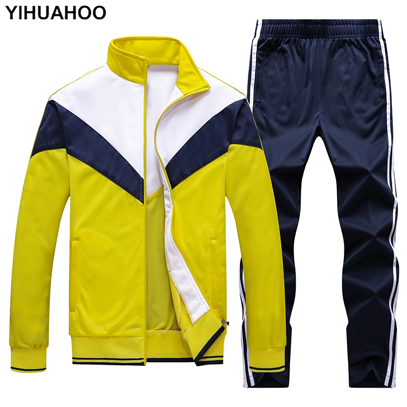Men's Sportswear Tracksuit Men Track Suit Jacket+pants 2 Two Pieces Clothing Set Casual Male Jogger Sweatsuit Plus Size 4XL 5XL