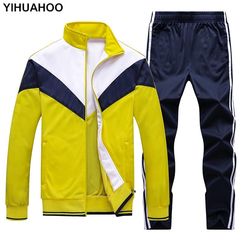 Men's Sportswear Tracksuit Men Track Suit Jacket+pants 2 Two Pieces Clothing Set Casual Male Jogger Sweatsuit Plus Size 4XL 5XL