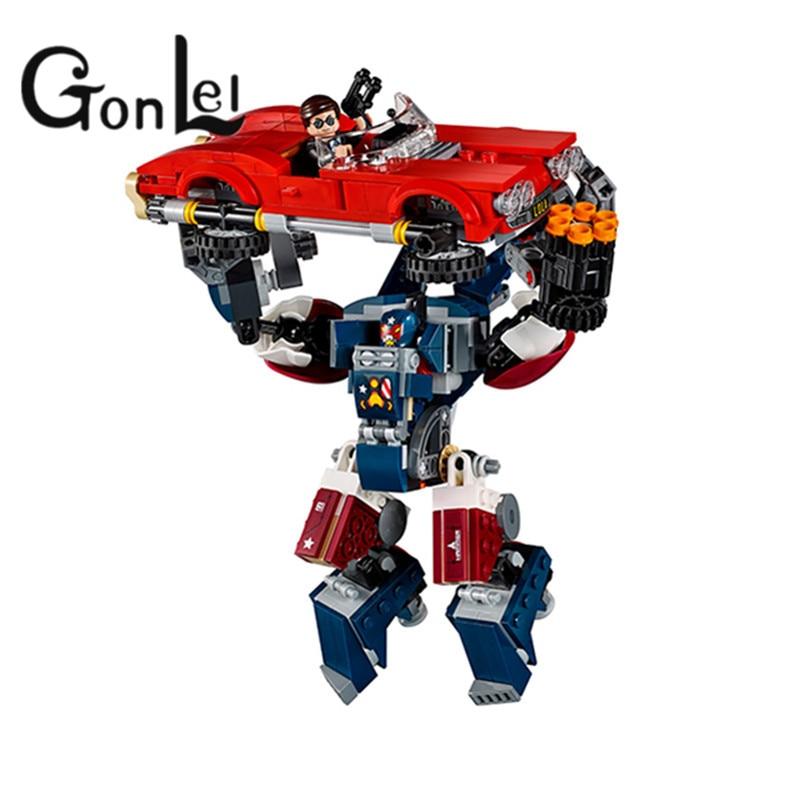 GonLeI 10674 Marvel Super Heroes Iron Man Detroit Steel Strikes Coulson Building Block Bricks Toys Gift For Children 76077
