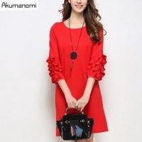 秋冬ドレス赤黒ラウンド襟3四半期蝶スリーブをライン春パーティードレスプラスサイズ5xl 4xl 3xl 2xl xl