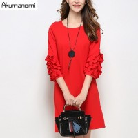 Autumn Winter Dress Red Black Round Collar Three Quarter Butterfly Sleeve A Line Spring Party Dress