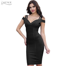 ADYCE Bandage Dress 2018 Women Party Dress Olive Green Off the Shoulder Stunning Celebrity Prom Sexy Bodycon Dresses Vestidos