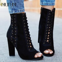 Women Sexy Ankle Boots Suede Cross Tied Block High Heels Pumps Peep Toe Woman Ankle Boots Gladiator Sandals Boots Zipper Shoes green velvet deep v front high heels sexy peep toe women ankle boots women pumps wedding dress shoes woman valentine shoe