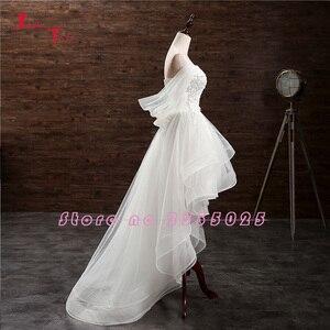 Image 3 - Jark Tozr Custom Made küçük beyaz elbiseler Vestido De Casamento aplikler yüksek düşük gelinlik çin Online alışveriş Trouwjurk