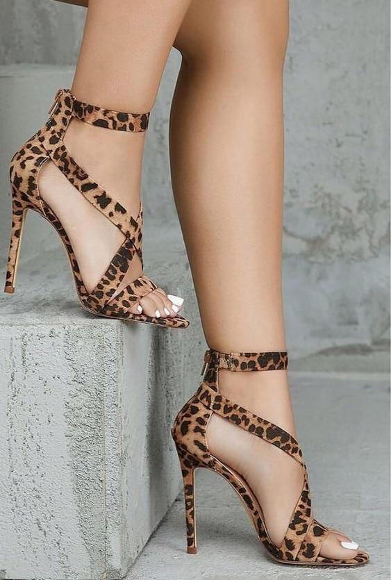 Leopard Cross Strap Sandals