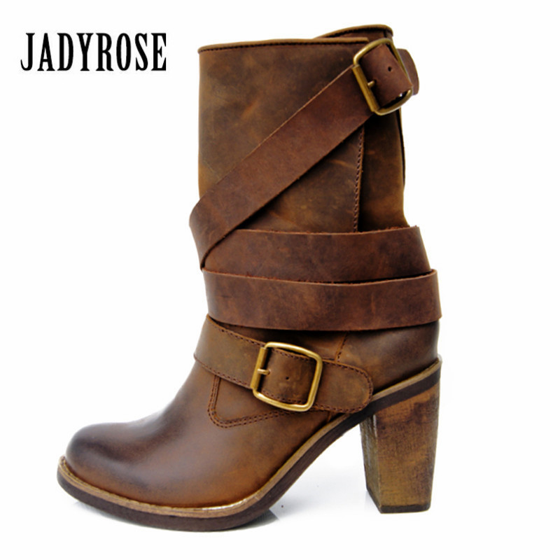 Jady Rose Vintage Brown Women Genuine Leather Mid-Calf Boot Chunky High Heel Platform Boots Straps Buckle Decor Martin Botas jady rose vintage brown women genuine leather mid calf boot chunky high heel platform boots straps buckle decor martin botas