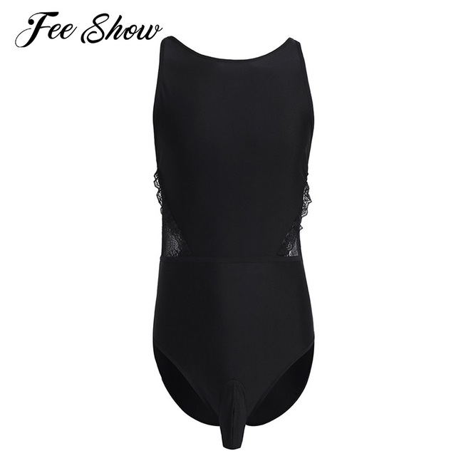 db11bc66e3 Feeshow Black Mens Lingerie One-piece Backless High Cut Thong Leotards Body  Suits Underwear Nightwear Sleepwear with Bulge Pouch