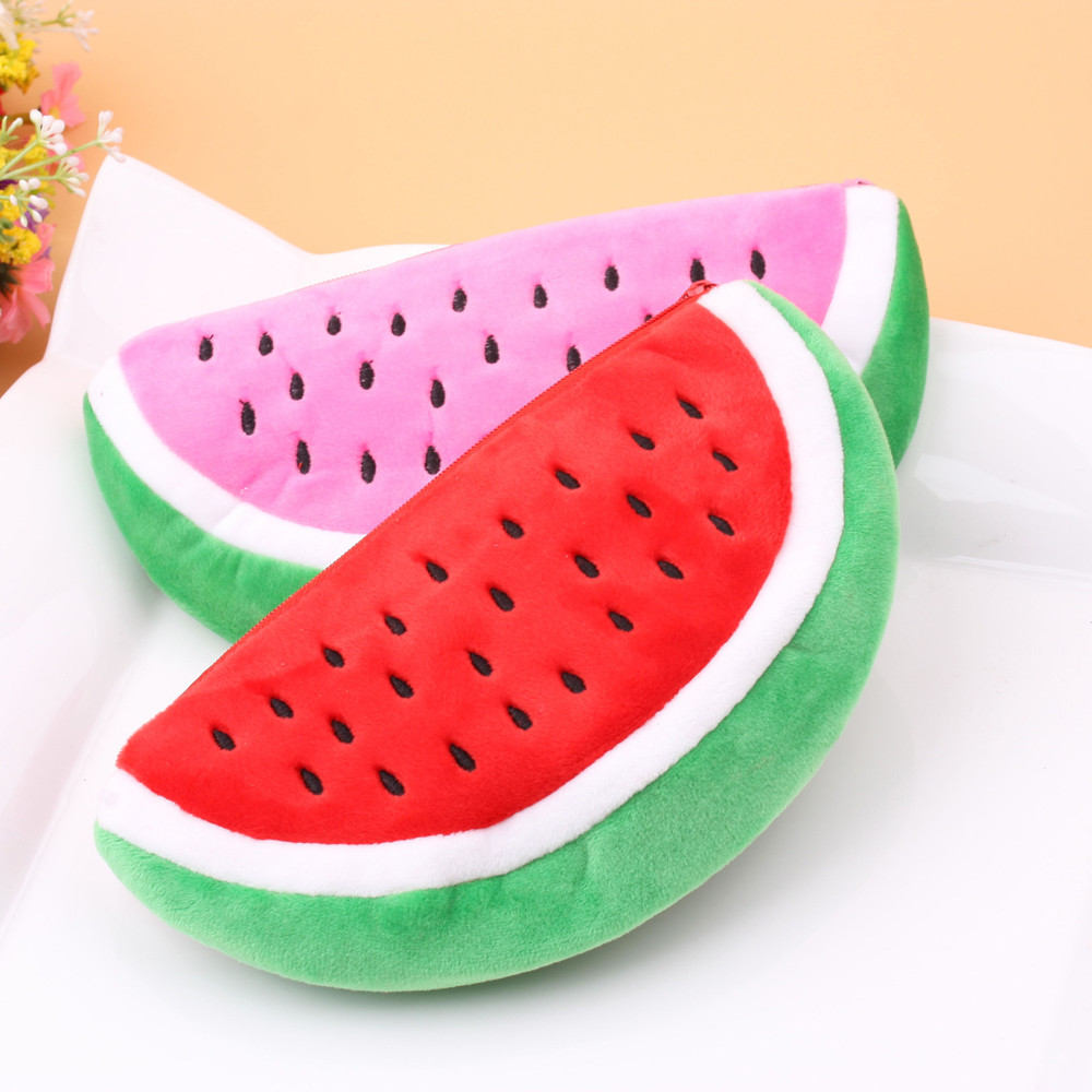 Frauen Mädchen Neuheit Geldbörse Nette Wassermelone Zipper Plüsch Ändern Tasche Telefon Tasche Bleistift Fall Hand Tasche Brieftasche