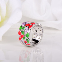 RainMarch Hollow Flower Silver Enamel Ring For Women Authentic 925 Sterling Silver Ring Handmade Wedding Party