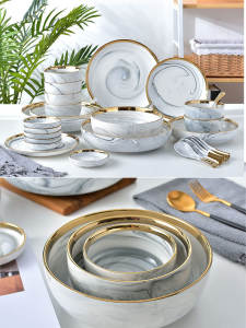 Tableware Dinnerware-Sets Salad Marble Ceramic Dishes And Eat 6 6-People Bowl Noodles
