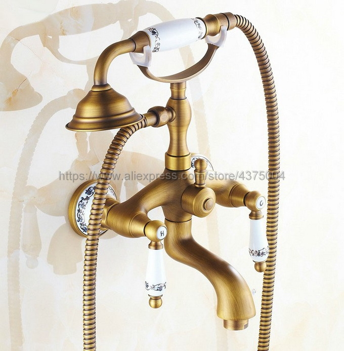 Dual Ceramic Handles Wall Mounted Antique Brass Bathroom Tub Faucet with Hand Held Shower Sprayer Ntf310 dual cross handles antique brass bathroom tub faucet with hand held shower sprayer