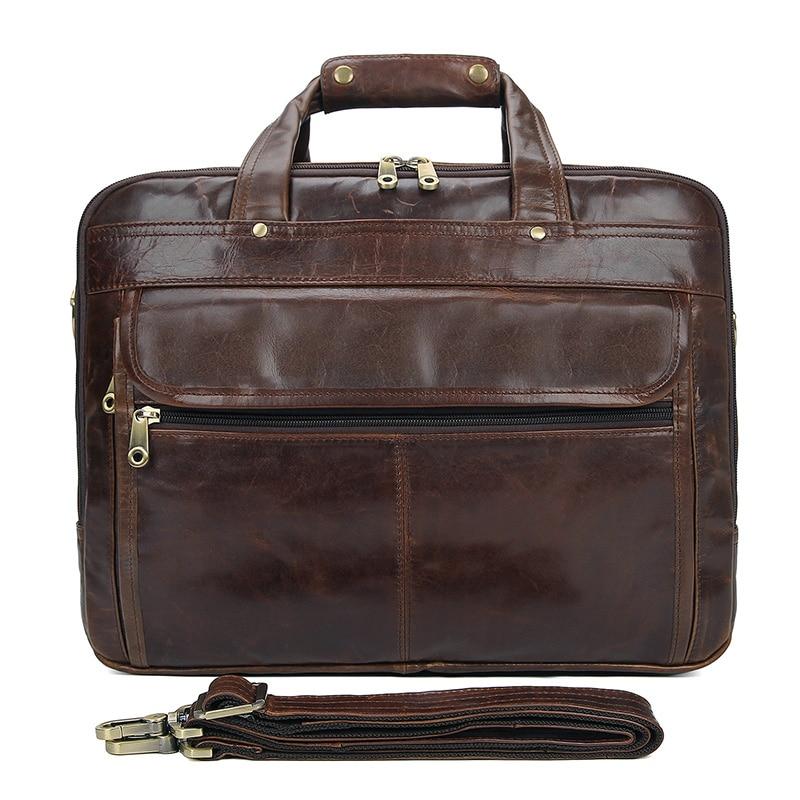 Hot Sale Coffee 100% Genuine Leather JMD Men Portfolio Briefcase Laptop Bag Messenger Handbag Shoulder Bag 7146Q