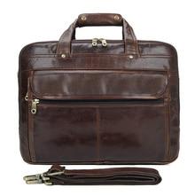 Free Shipping Hot Sale Coffee 100% Genuine Leather JMD Men Portfolio Briefcase Laptop Bag Messenger Handbag Shoulder #7146C