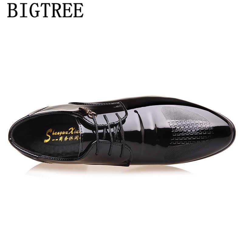 Traje zapatos hombres formal italiano moda Oficina zapatos hombres vestido charol negocios zapatos hombres clásicos zapatos de charol hombre