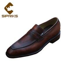 Sipriks/мужские мокасины из лакированной кожи; деловая официальная обувь; модельные туфли без шнуровки; итальянские Прошитые лоферы; роскошные европейские лоферы; 45