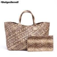 Ladies Snake Print Woven Leather Handbag High Capacity Cross Stitch Hobo Women S Knitting Serpentine Bag