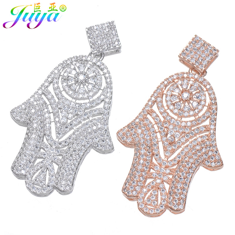 Juya DIY Gold/Silver Color Hamsa Hand Of Fatima Connector Pendants For Natural Stones Pearls Necklaces Beadwork Jewelry Making