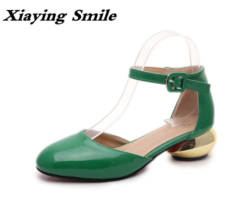 Xiaying Smile Woman Pumps Shoes Women Mary Janes Retro Spring Summer Casual Round Heels Buckle Strap Shallow Rubber Women Shoes xiaying smile summer woman sandals casual fashion women pumps square cover heel buckle strap flock rubber student women shoes