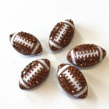 Lote de 50 Uds. De abalorios de 8MM con diamantes de imitación para balones de fútbol, letras personalizables, accesorios para pulseras de 8mm, collares para perros y Mascotas