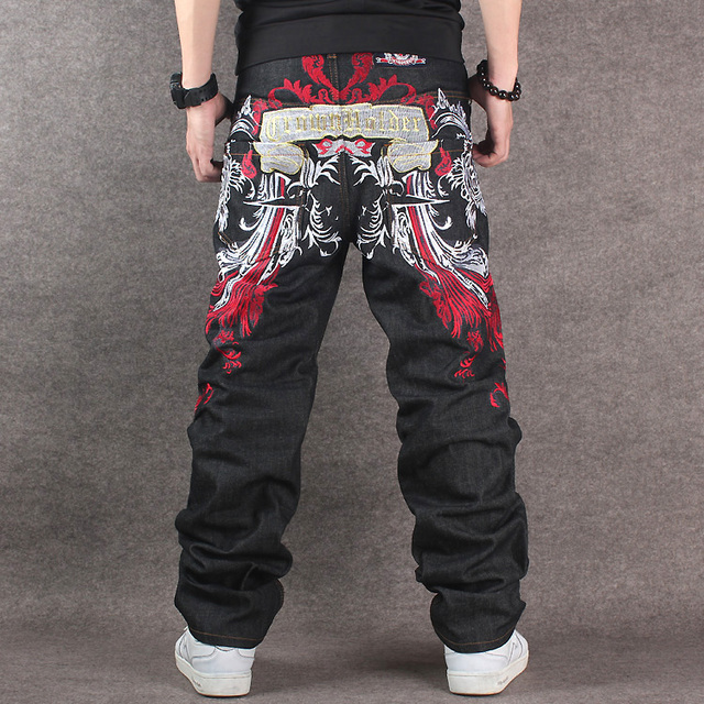 US $34 29 |2017 Men's Black Baggy Jeans Hip Hop Designer CHOLYL Brand  Skateboard Pants loose Style True HipHop Rap Jeans Boy-in Jeans from Men's