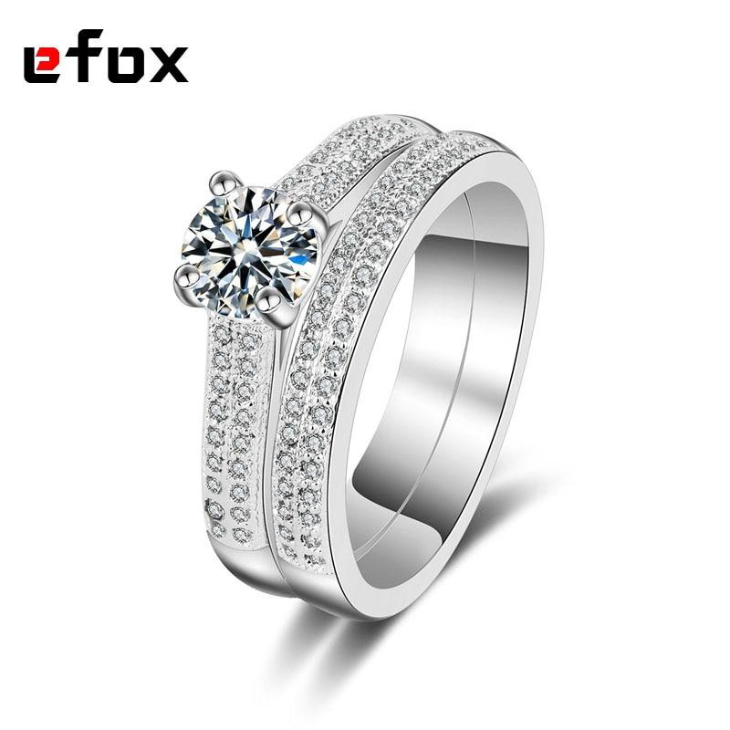 Мода двухрядные CZ свадебные Кольца набор для женщины обещание палец кольцо комплект для ...