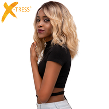 Lace Front Synthetic Hair Wigs X-TRESS Ombre Brown Blonde Color Natural Wave Side Part 12'' Short Bob Lace Frontal Wig For Women top beauty brown color skin top lace front wig so real and natural take action