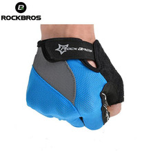 Rockbros Mens Bicycle Cycling Half Finger Gloves Gel Pad Fingerless Gloves Gel Pad Short Half Finger