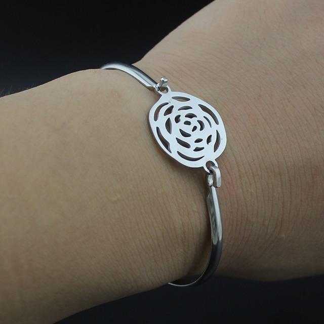 Hapiship cor de aço inoxidável bonito oco redondo pulseira para mulheres presente jóias pulseras mujer brazalete bx20
