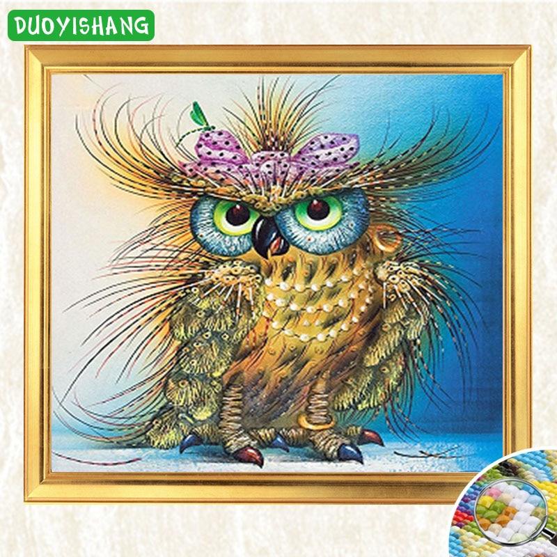 DUOYISHANG 5D Diamond Painting Colorful Owl Bird Diamond Embroidery Sale Animal Painting Mosaic Rhinestones Cross Stitch